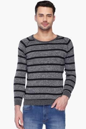 SPYKARMens Slim Fit Round Neck Stripe Sweater