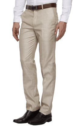 THEMEMens Slim Fit Solid Formal Trousers