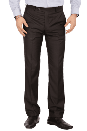 LOUIS PHILIPPEMens Flat Front Slim Fit Solid Formal Trousers - 9925323_8198