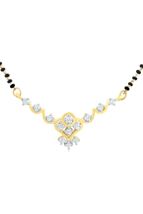 MAHI Gold Plated Mangalsutra Pendant With CZ For Women PS1191581G