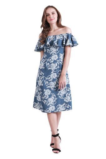 Womens Off Shoulder Neck Floral Print A-Line Dress