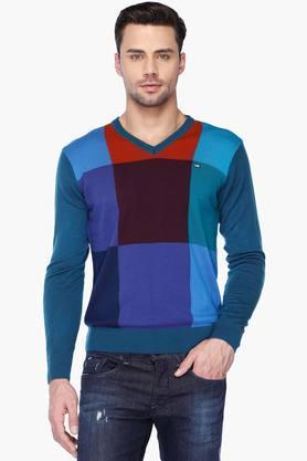 Mens V Neck Check Sweater