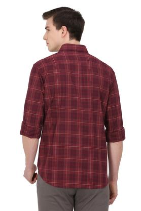 Mens Slim Collar Check Casual Shirt
