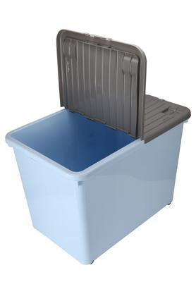 Rectangular Colour Block Storage Box with Lid and Wheel - 80L