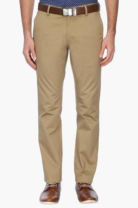 INDIAN TERRAIN Mens Slim Fit Solid Chinos