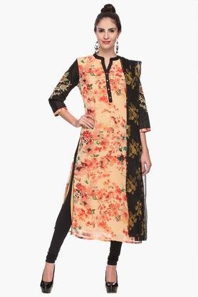Womens Mandarin Neck Printed Churidar Suit