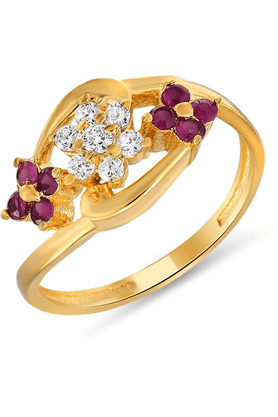 MAHI Mahi Gold Plated Luscious Ring With Ruby And CZ Stones For Women FR1100309G