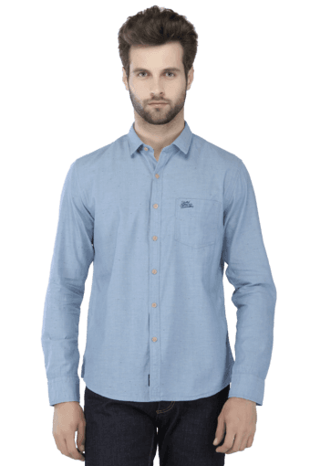 Mens Full Sleeves Slim Fit Solid Casual Shirt