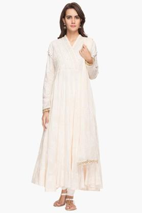 RS BY ROCKY STAR Womens Embroidered Churidar Kurta Dupatta Set