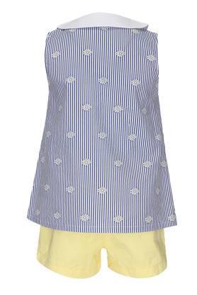 Girls Peter Pan Collar Floral Print Shorts and Top Set