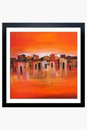 CRUDE AREA Multi Colour Orange Village Fibre Framed Art (Medium)  ...