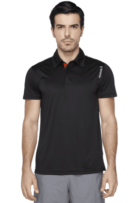 REEBOK Mens Short Sleeves Solid Polo T-Shirt