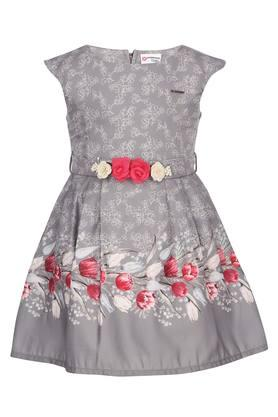 Girls Round Neck Floral Printed Applique Pleated Dress