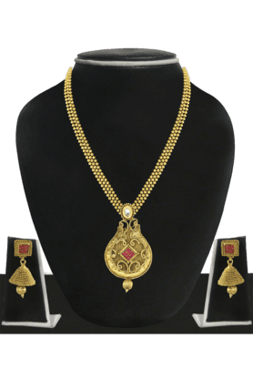 ZAVERI PEARLS Womens Gold Plated Long Necklace Set - 200929020
