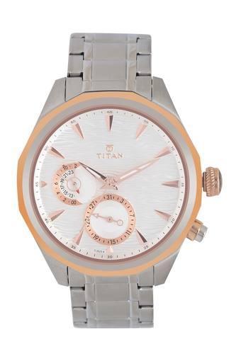 Mens White Dial Metallic Chronograph Watch