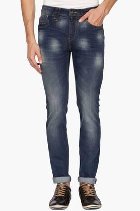 FLYING MACHINE Mens 5 Pocket Tapered Fit Heavy Wash Jeans (Micheal Fit) - 202045549