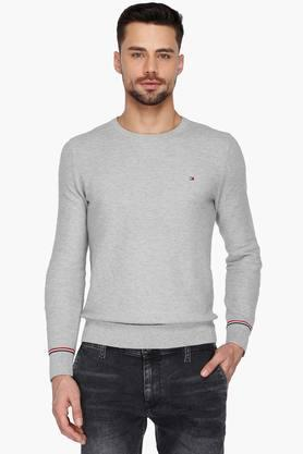 TOMMY HILFIGERMens Full Sleeves Round Neck Solid Sweater