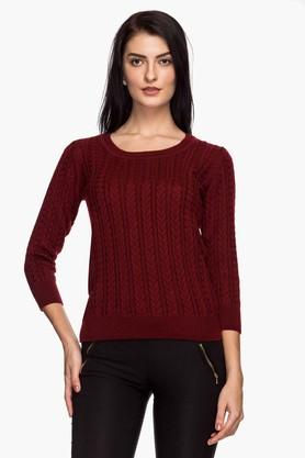 VAN HEUSEN Womens Round Neck Knitted Solid Sweater