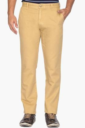 Mens Tapered Fit 4 Pocket Solid Chinos - 202134145