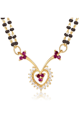 MAHI Mahi Gold Plated Wedlock Mangalsutra Pendant With CZ & Ruby For Women PS1193518G2