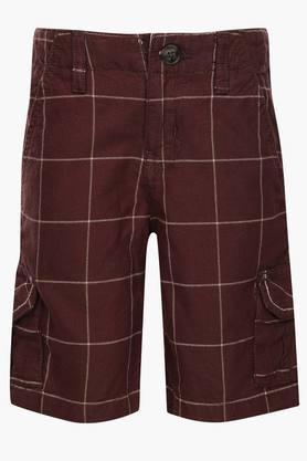 Boys 6 Pocket Check Cargo Shorts