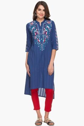 HAUTE CURRY Womens Mandarin Neck Stripe Embroidered Kurta