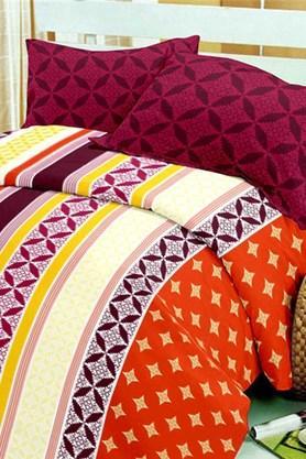 BLISSMaroon Maroon Cotton Double Bedsheet Set (Bedsheet Set (King)