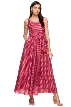 Womens Round Neck Printed Gown