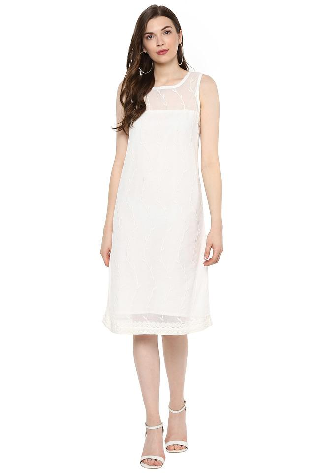 Womens Square Neck Embroidered Shift Dress