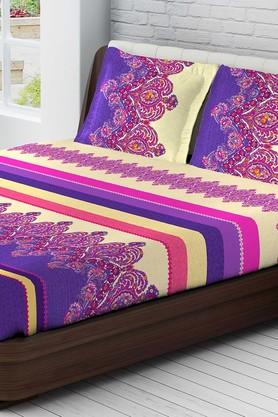 TANGERINEFete Extravagant Cotton California King Bedsheet With 2 Pillow Covers - Purple & Yellow