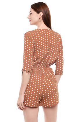 Womens Surplice Neck Dot Pattern Playsuit