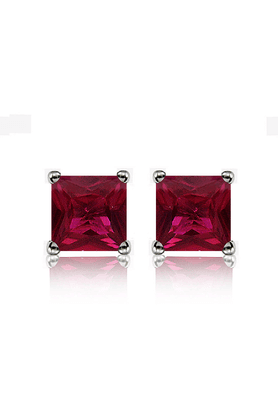MAHI 92.5 Sterling Silver Maroon Classic Princess Stud Earrings Made With Swarovski Zirconia By Mahi ER3102002Mar