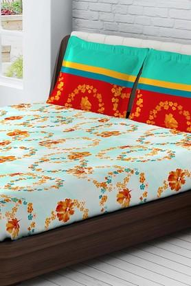 TANGERINE Cotton Floral Medium Bedsheet And Pillow Set