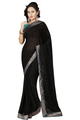 DEMARCAWomen Satin Designer Saree (Buy Any Demarca Product & Get A Pair Of Matching Earrings Free)