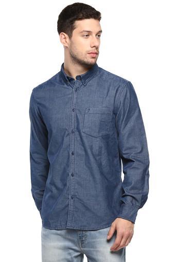 Mens Button-Down Collar Slub Shirt