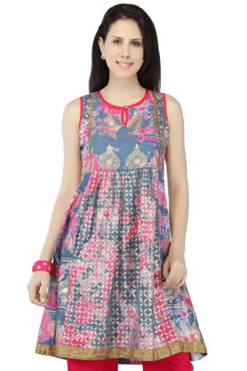 HAUTE CURRY Women Cotton Printed Sleeveless Kurta