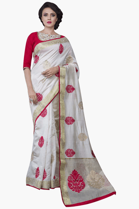 JASHN Womens Embroidered Saree With Blouse Piece - 201313121