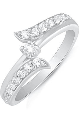 MAHI Mahi Rhodium Plated Infinity Love Finger Ring With CZ For Women FR1100498R