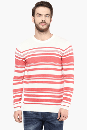 CELIO Mens Full Sleeves Round Neck Straight Fit Stripe Sweater