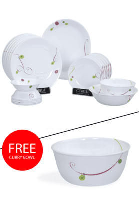 CORELLE India Collection Royal Sequins 21 Pcs Dinner Set With Free Curry Bowl