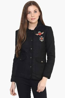 THE VANCA Womens Solid Appliqued Collared Jacket
