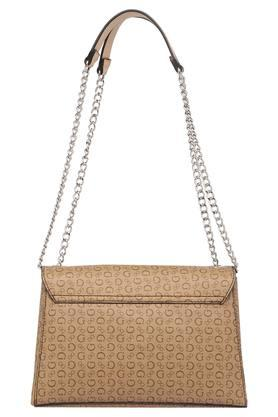 Womens Metallic Lock Closure Sling Bag