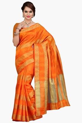 ISHINWomens Stripe Golden Weave Saree