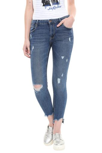 Womens Skinny Fit Distressed Jeans
