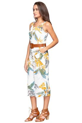 Womens Strappy Neck Floral Printed Jumpsuit