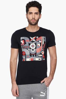 PUMAMens Round Neck Short Sleeves Printed T-Shirt