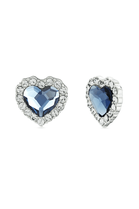 MAHI Mahi Rhodium Plated Montana Blue Titanic Heart Earrings Made With Swarovski Elements For Women ER1194118RBlu