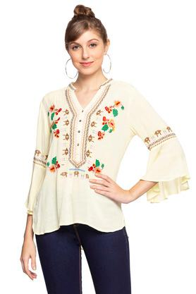 Womens Mandarin Collar Embroidered Top