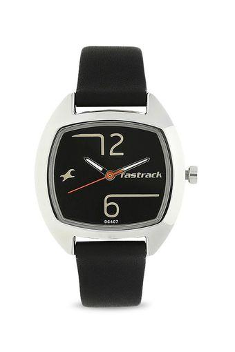 Womens Black Dial Leather Analogue Watch - NK6162SL01