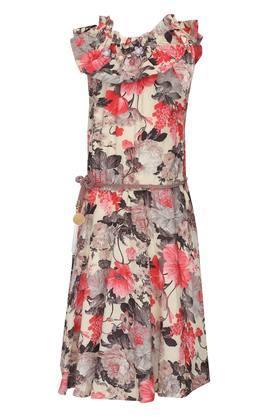 Girls Ruffled Collar Floral Print Midi Dress